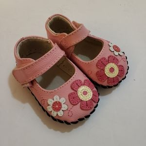 Pediped Pink Floral Leather Mary Jane Shoes
